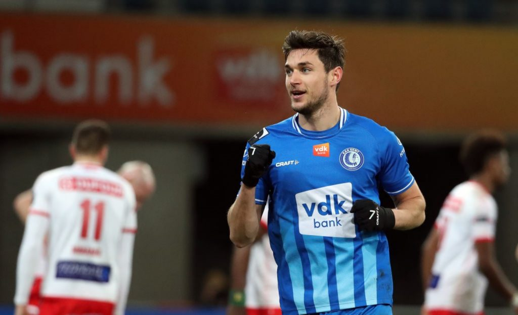 GENT, BELGIUM - FEBRUARY 15: Roman Yaremchuk of KAA Gent celebrates after scoring the 4-0 goal during the Jupiler Pro League match between KAA Gent and Royal Excel Mouscron at Ghelamco Arena on February 15, 2021 in Gent, Belgium. (Photo by Vincent Van Doornick/Isosport/MB Media/Getty Images)