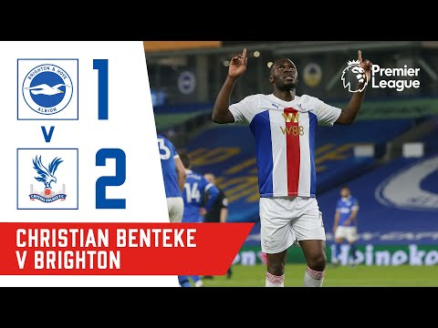 Christian Benteke scores a 90th minute winning volley against Brighton